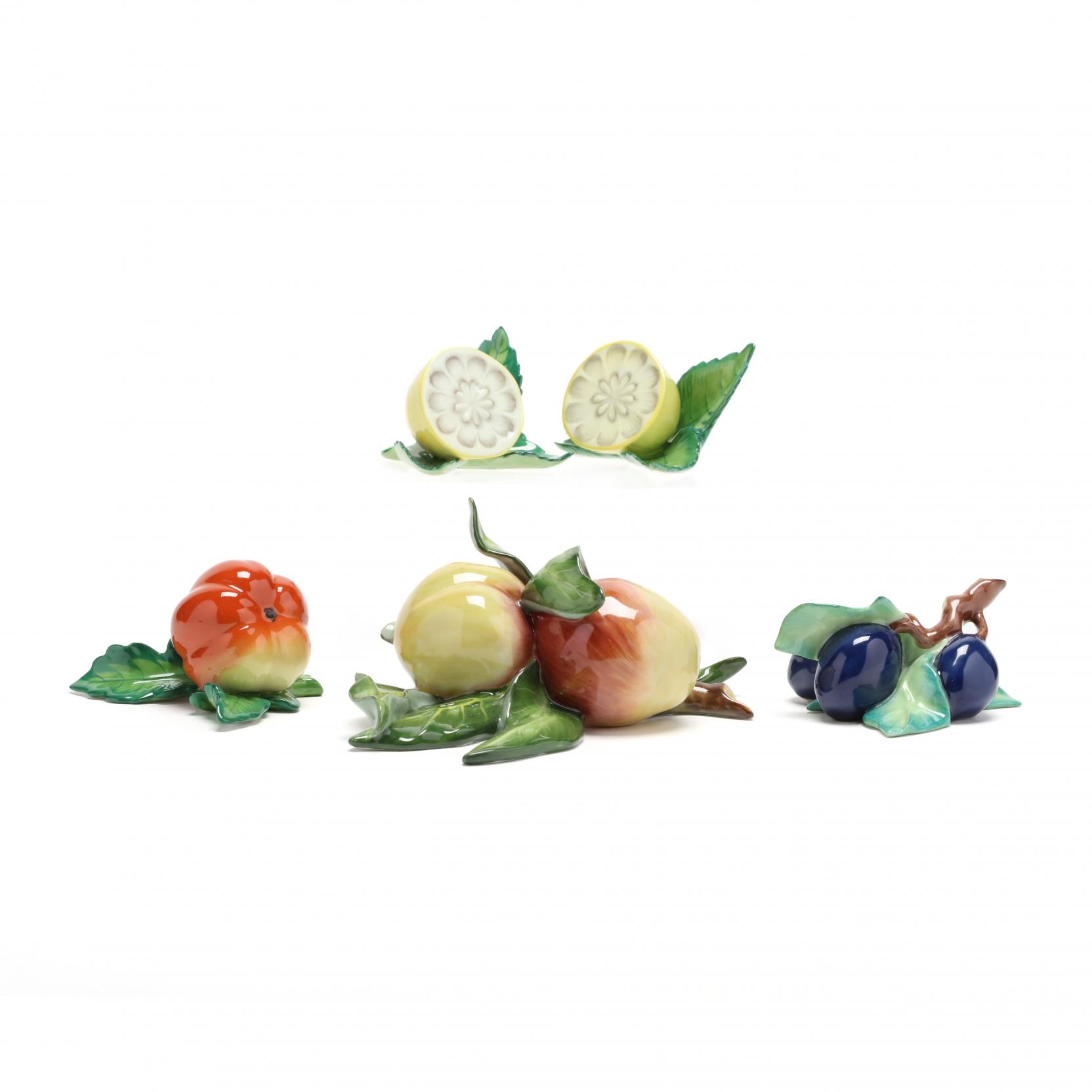 a-group-of-decorative-herend-porcelain-in-the-form-of-fruit