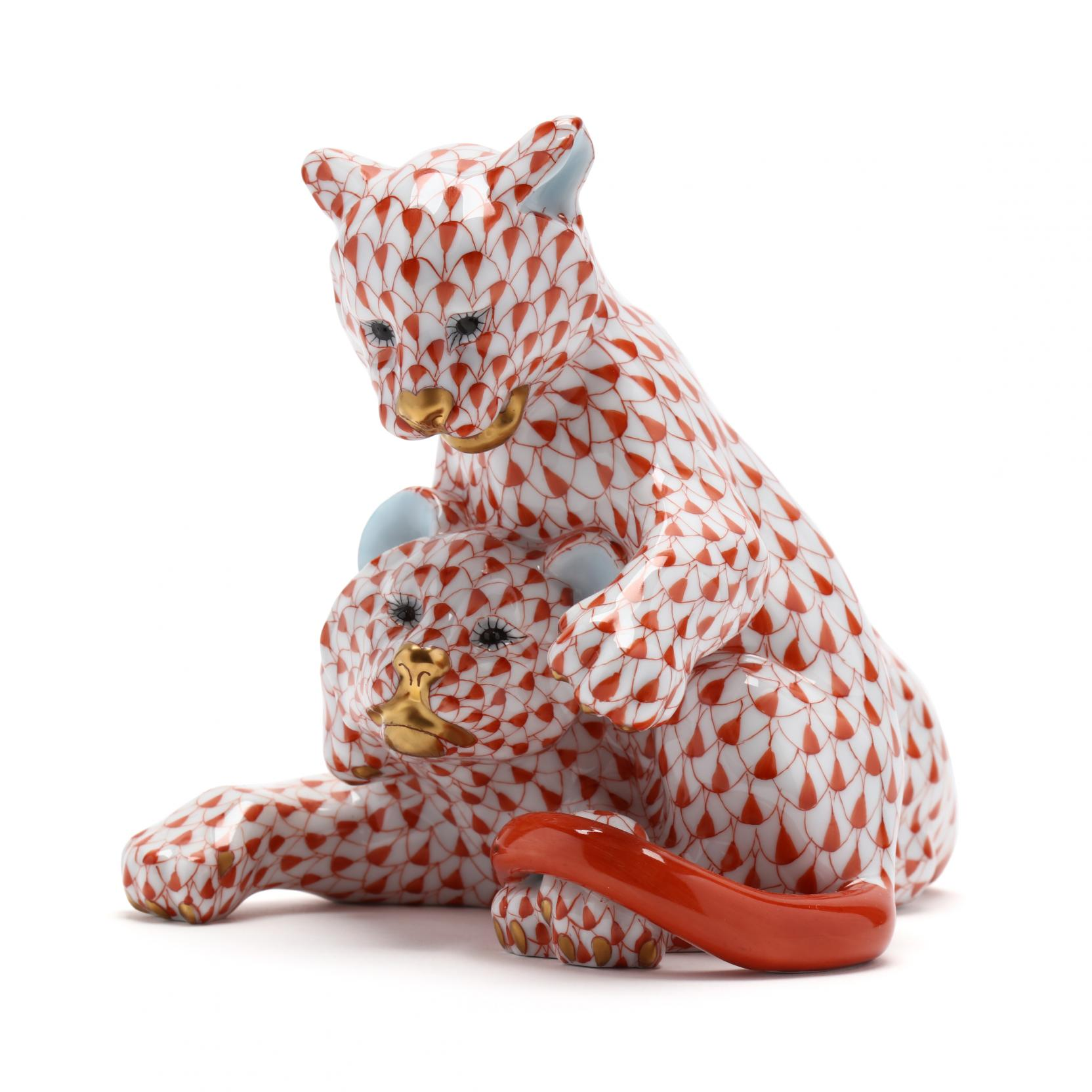 a-herend-porcelain-lion-cub-duo
