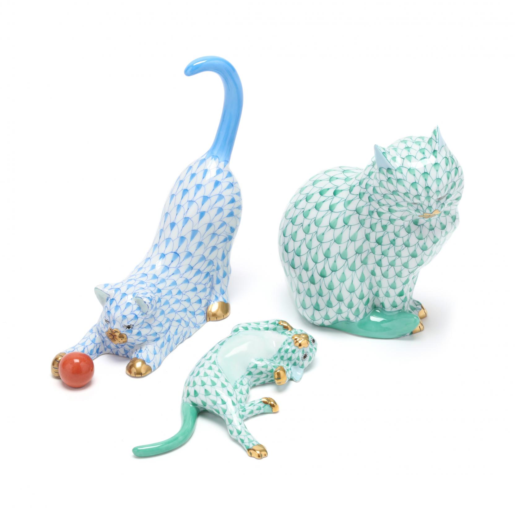 three-herend-porcelain-fishnet-cats