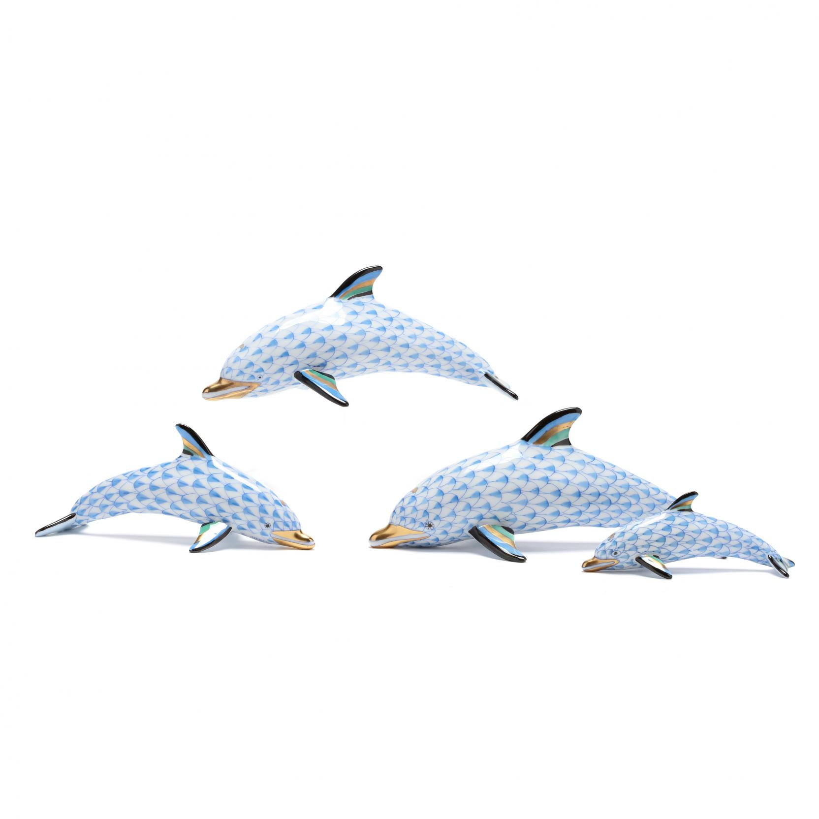 four-herend-porcelain-fishnet-dolphins