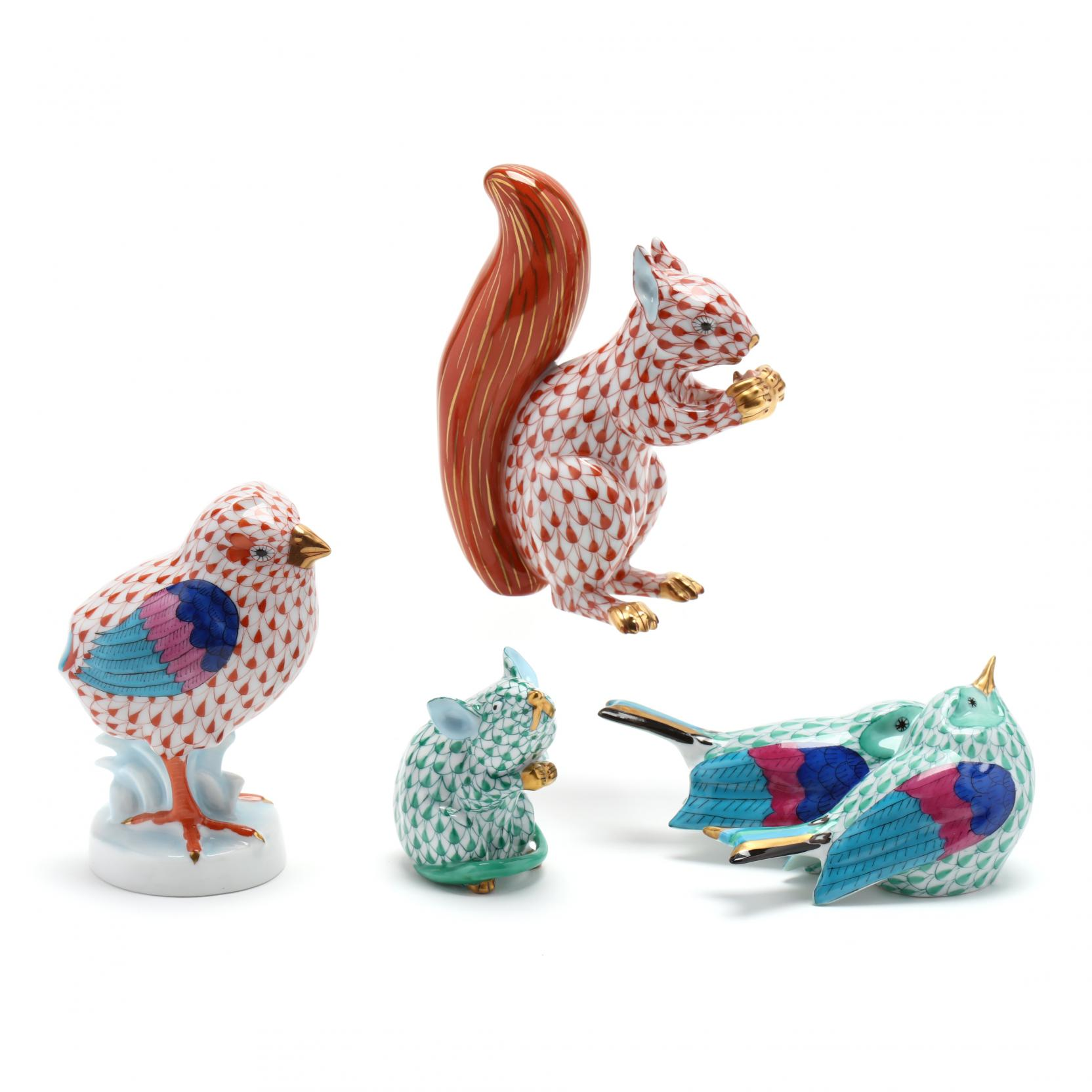 four-herend-porcelain-animal-figurines