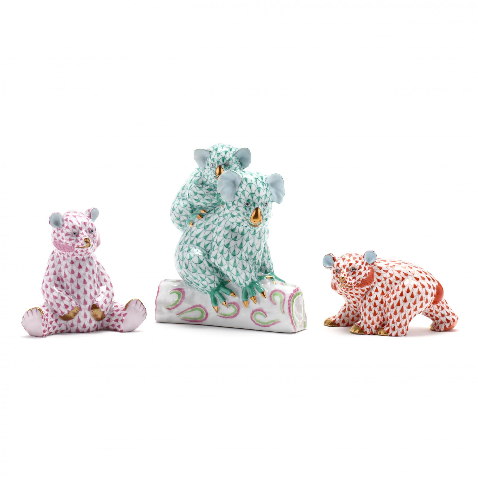 three-herend-porcelain-bears
