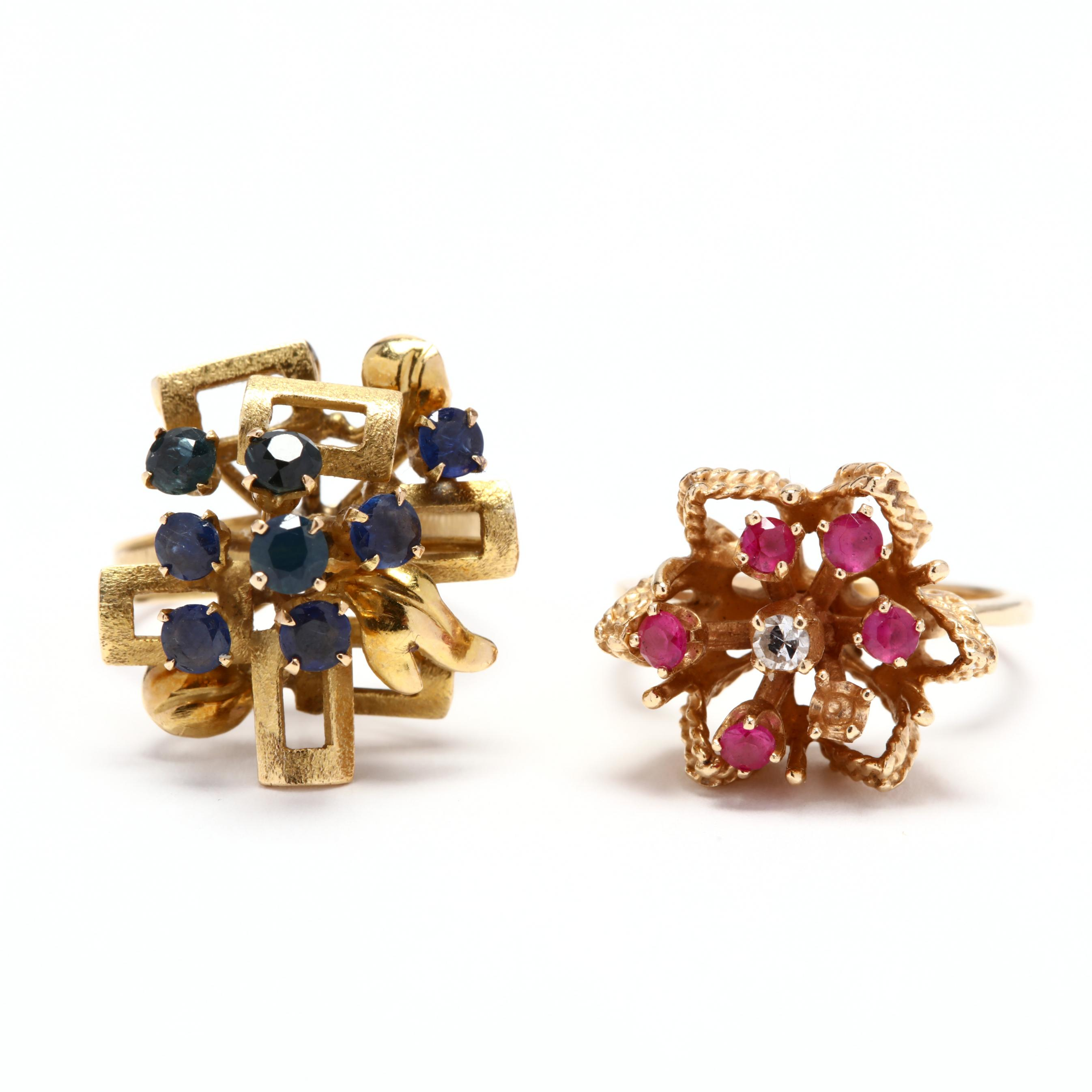 two-gold-and-gemstone-rings