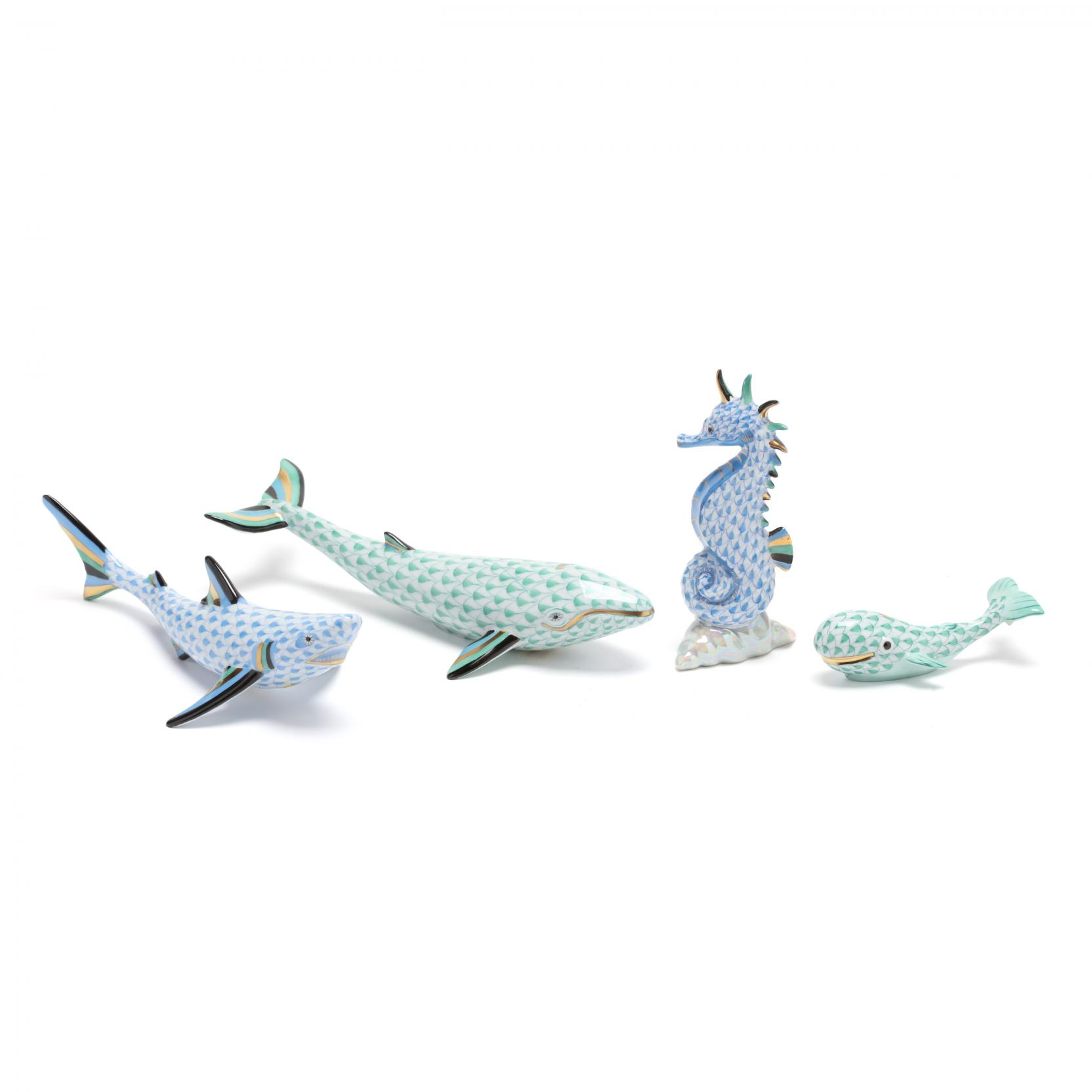 four-herend-porcelain-sea-animals