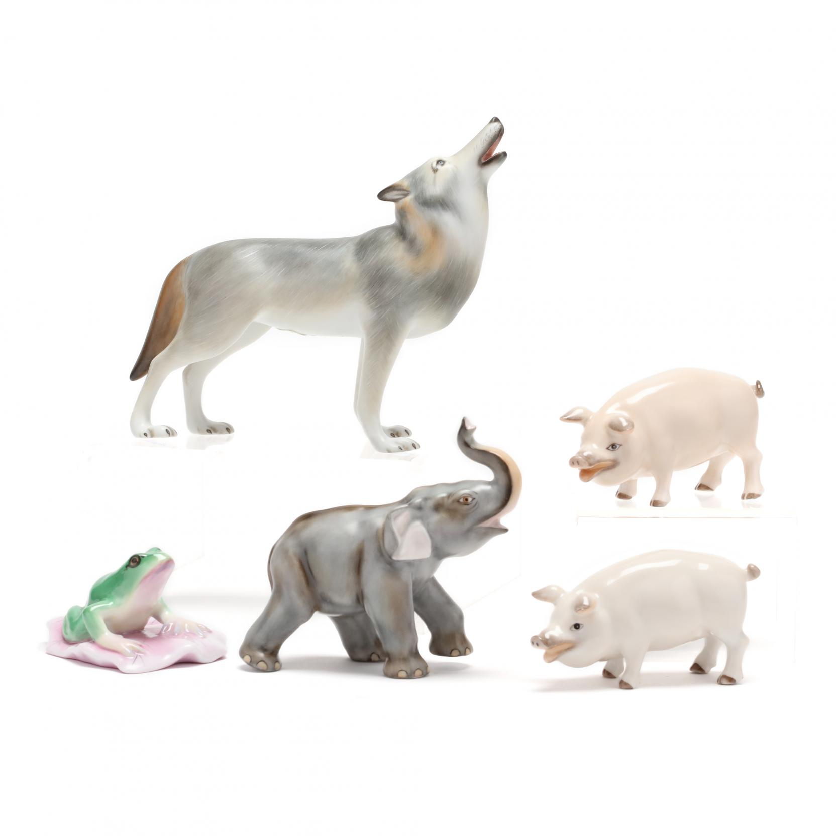 a-group-of-five-herend-porcelain-natural-animals
