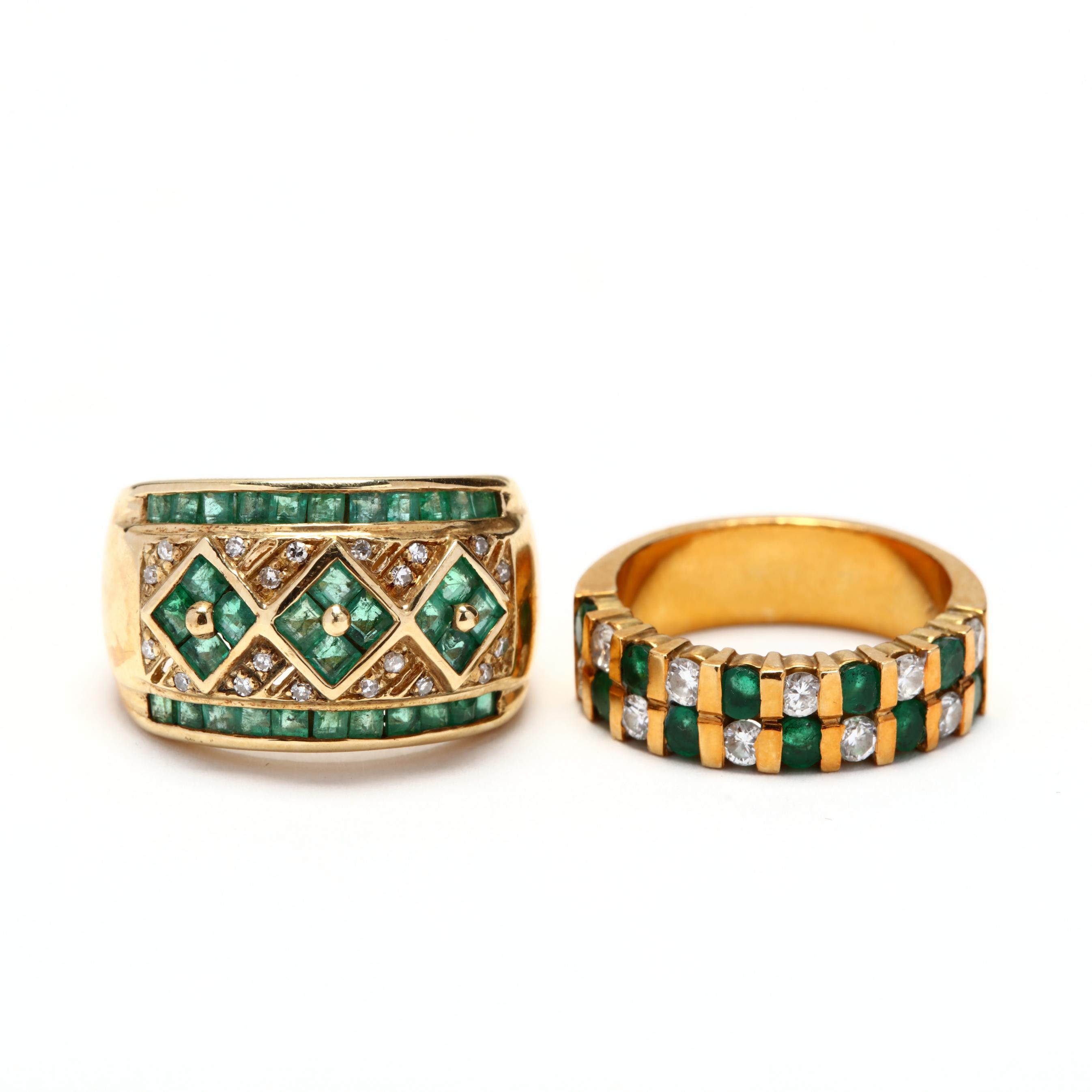 two-gold-diamond-and-emerald-rings