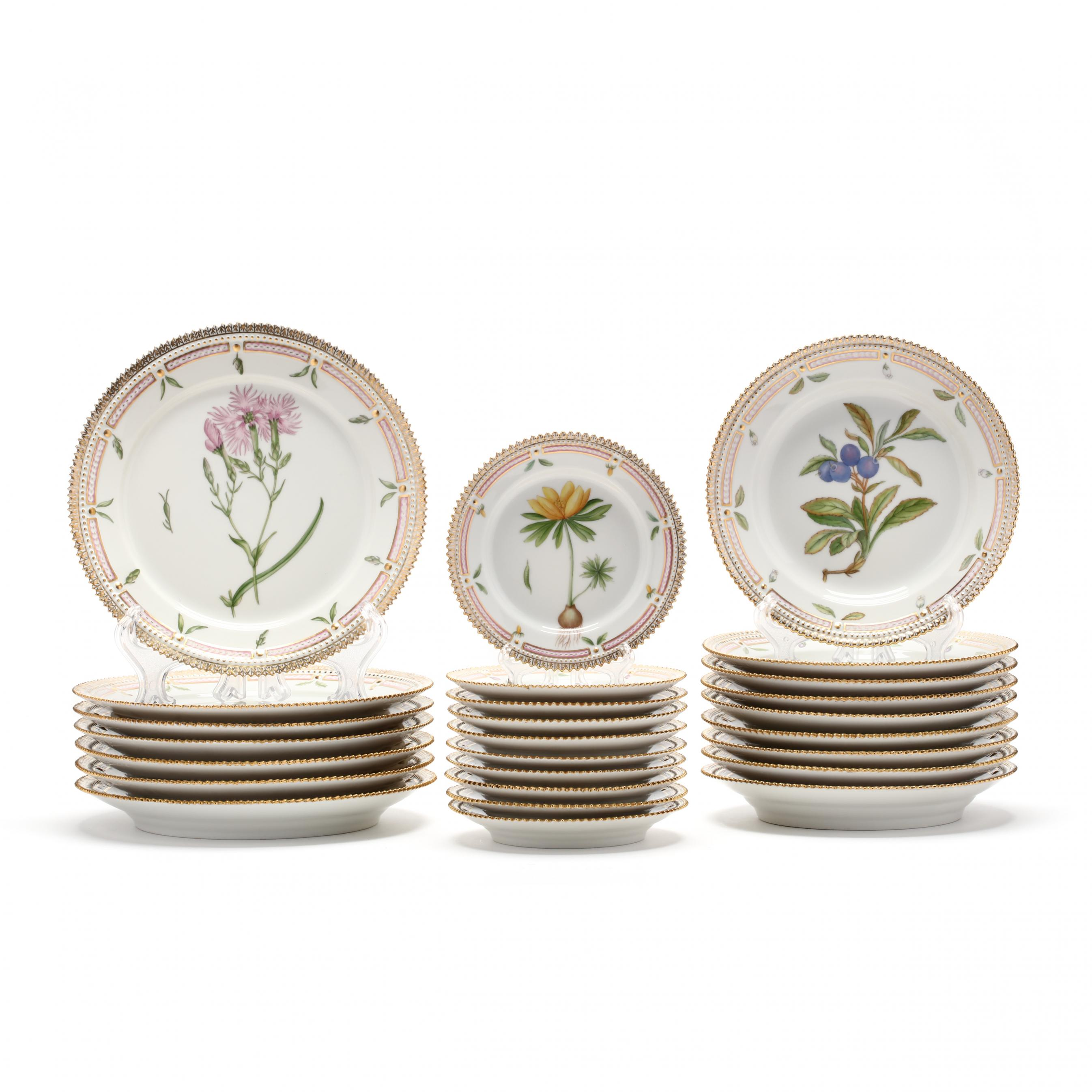 a-group-of-26-royal-danica-porcelain-flora-danica-table-ware
