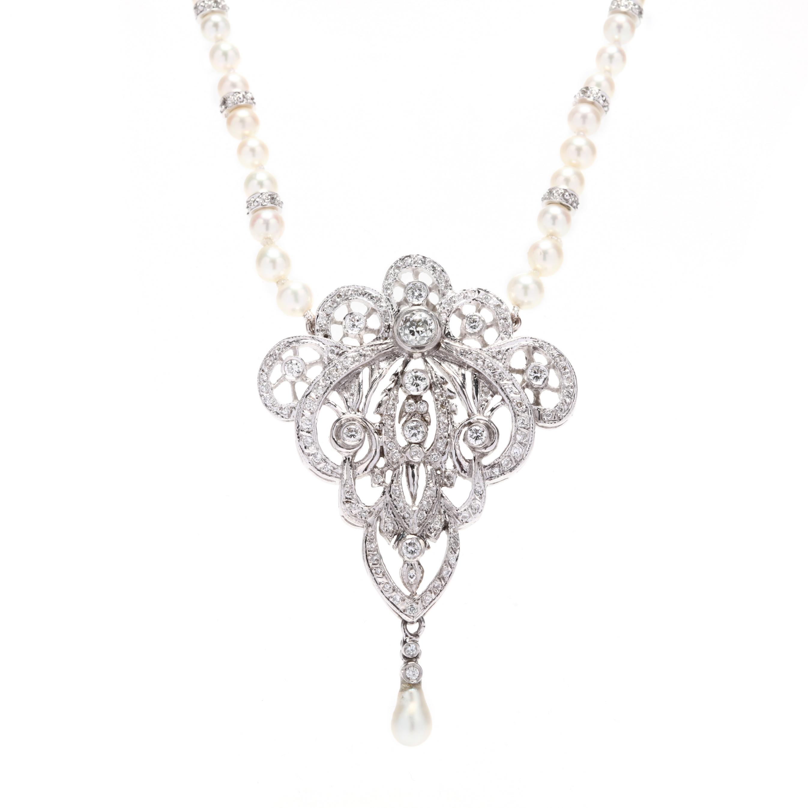 edwardian-style-platinum-diamond-pendant-and-pearl-and-diamond-necklace